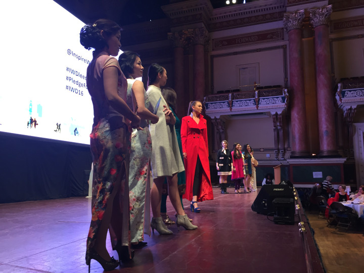 International Women's Day 2016 fashion show in Leeds town hall with clothes designed in Yorkshire and made from Yorkshire textiles